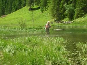 Fliegenfischen in der Großarler Ache in Österreich, Bine beim Fischen